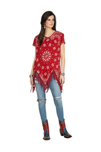 Double D 6 Whiskey Red bandana short sleeve top with fringe T3257 Willies Picnic six whisky