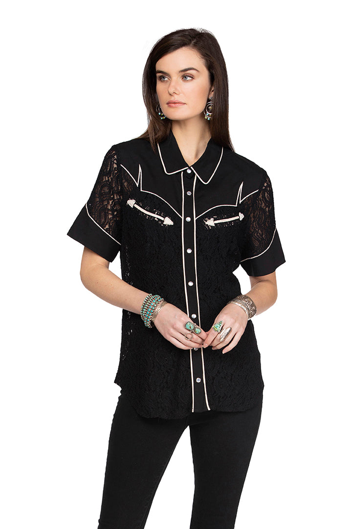 Double D 6 Whiskey retro black cowboy western short sleeve top sing  Dixie Bakersfield collection T3272