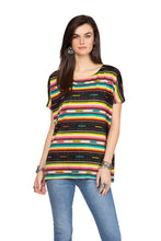 Load image into Gallery viewer, Double D 6 Whiskey Serape Bakersfield Top multi stripe short sleeve T3275