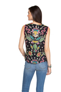 Double D 6 Whiskey Honky Tonk Cat Sleeveless black top Bakersfield Collection back view tie front T3279