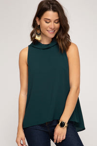 Sleeveless Folded Neck Woven Top