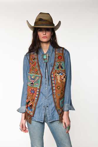 Double D Ranch Vest  ~ American Assemblage in Tumbleweed V932 DD Ranch 6 Whiskey six whisky Georgetown Texas