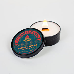 woodsmoke travel candle clove National Park Collection 6 whiskey good well supply all natural six whisky wood wick soy tin