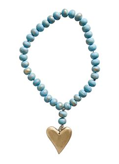Wood Bead Strand with Gold Heart Pendant