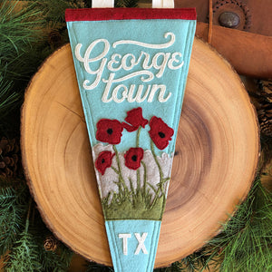 Georgetown Red Poppy Felt Pennant