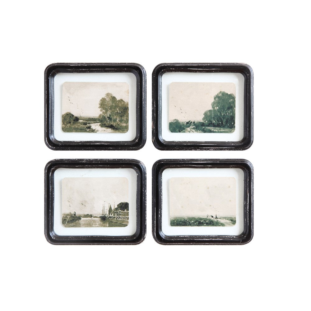 Antique black wood frames with landscape trees rivers birds 6 whiskey