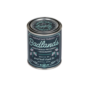 Badlands National Park candle 6 whiskey good well supply six whisky all natural wood wick soy tin