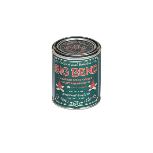 Good and Well Supply 6 Whiskey big bend candle tin Charred wood, smoky embers, amber + spice six whisky all natural pint soy wood wick vegan