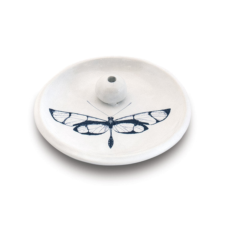 incense burning dish with butterfly stoneware skeem 6 Whiskey white with black image
