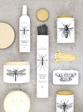 Load image into Gallery viewer, Skeem 6Whiskey all natural citronella bug spray white containers with black bug images on front moth butterfly mosquitoes matches cream incense