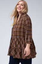 Load image into Gallery viewer, Ella Plaid Blouse
