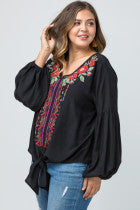 Load image into Gallery viewer, Black Floral Embroidered Blouse