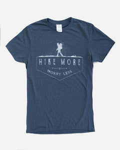 Short Sleeve Hike More worry less t shirt on sale 6 whiskey blue with white lettering rustic great gift for guys