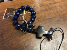 Load image into Gallery viewer, Jan Barboglio blue protector blessing beads wood cross 6 whiskey six whisky silver flowers leather cord child children