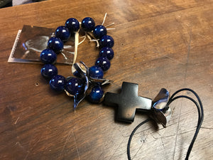 Jan Barboglio blue protector blessing beads wood cross 6 whiskey six whisky silver flowers leather cord child children