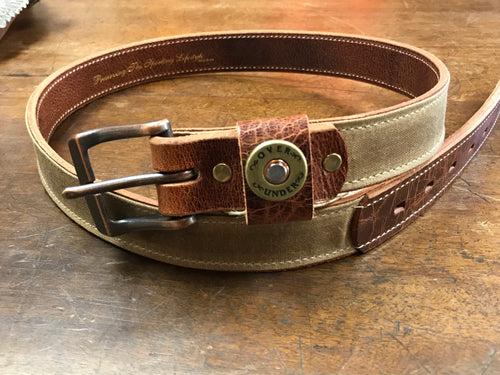 Over Under Belt ~  Waxed Canvas Belt in Tan 6 Whiskey Georgetown 34,36,38,40,42, and 44