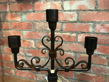 Load image into Gallery viewer, Jan Barboglio 6 Whiskey 3 arm iron candelabra glass