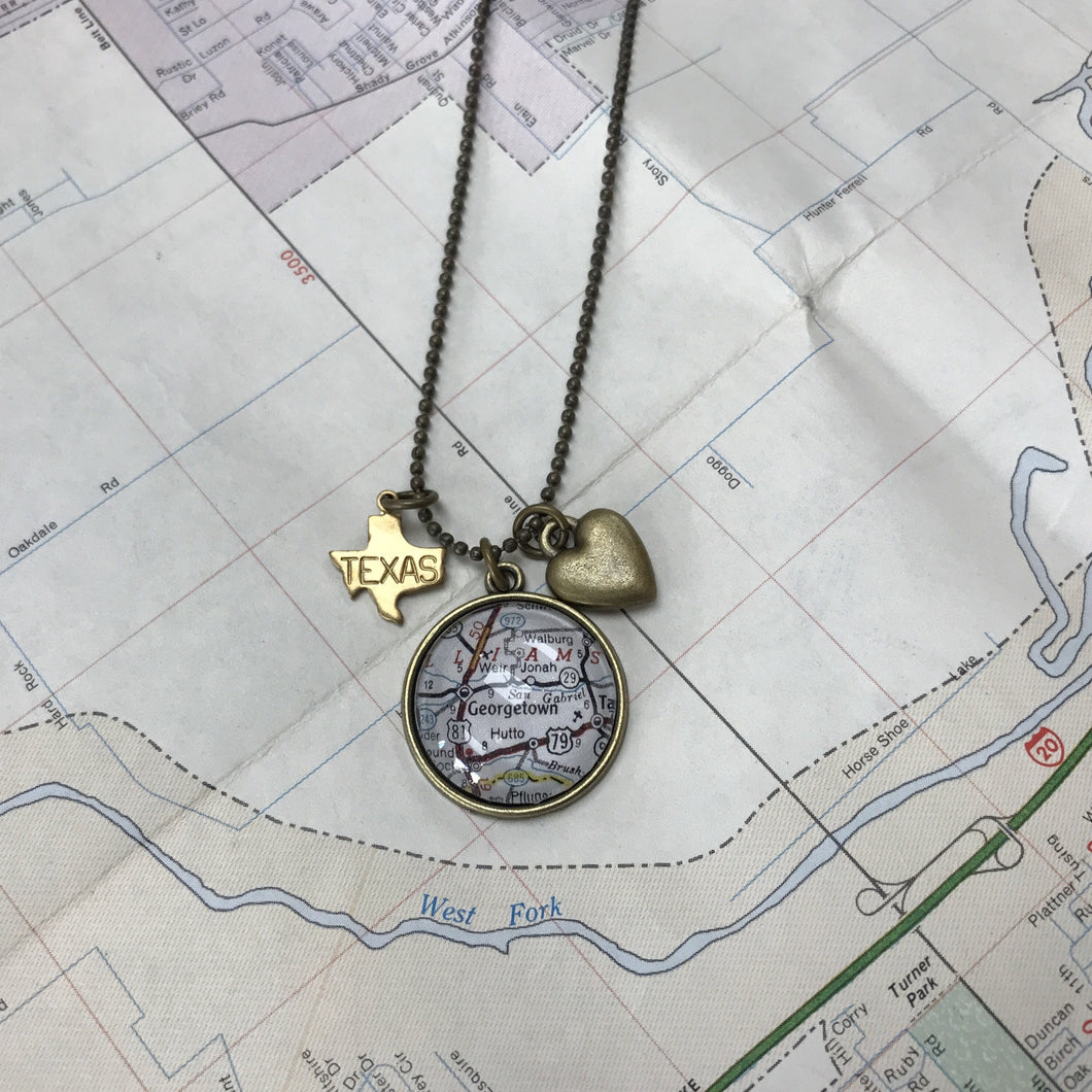 Charm Necklace - Map of Georgetown TX