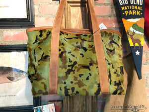 Camo cowhide tote bag 6 whiskey six whisky big bag leather