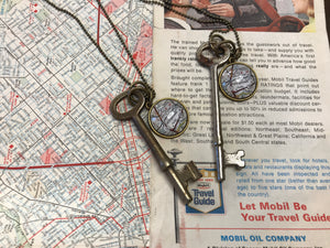 Skeleton Key Necklace - Map of Georgetown TX