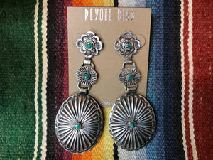 Peyote Bird Design Earrings Concho , Turquoise