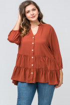 Rust Button-up Tiered Blouse