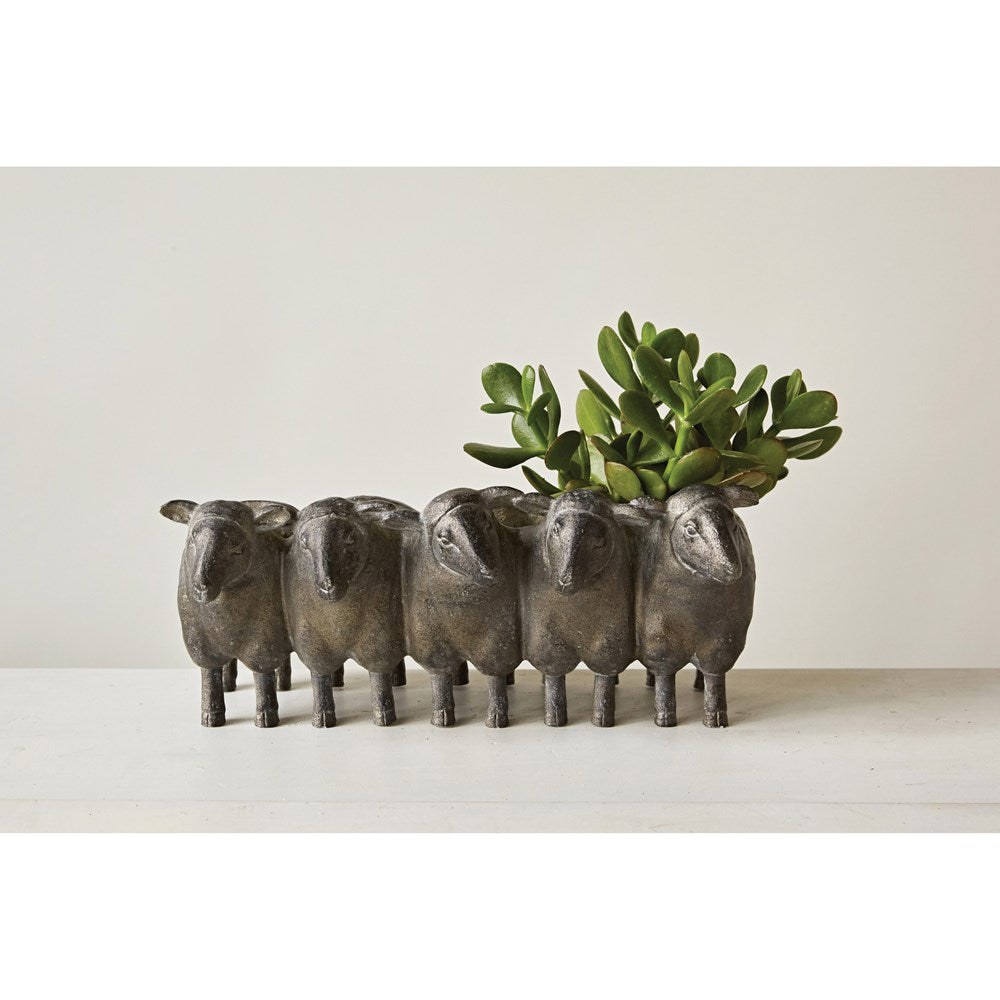 Sheep resin planter with plant six whisky