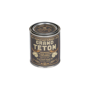 Grand Teton national park candle collection 6 whiskey good well supply six whisky all natural soy wood wick tin