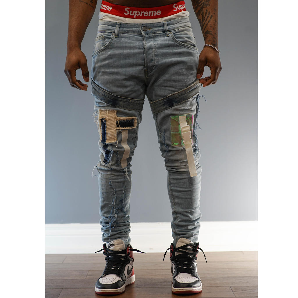 Shredded Light Wash Denim