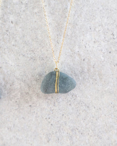 ECO SEA GLASS NECKLACE GREY