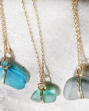 Load image into Gallery viewer, ECO SEA GLASS NECKLACE BLUE