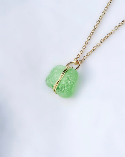 ECO SEA GLASS NECKLACE GREEN