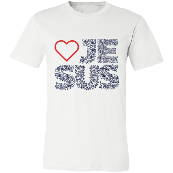 Jesus Love  T-Shirt- 3001C Unisex Jersey Short-Sleeve T-Shirt - CustomTeesGifts