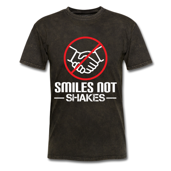 Smiles not Shakes - Men's T-Shirt - Coronavirus Covid-19 Social Distance Awareness T-Shirt - CustomTeesGifts