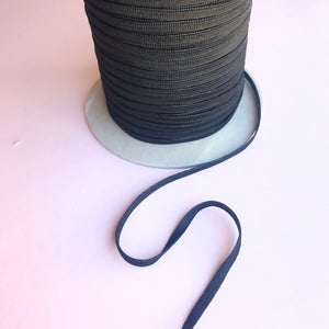 6mm Flat Elastic Black - Latex Free - 1 metre