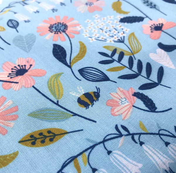 Bees and Flowers Brushed Cotton Poplin - 0.5m