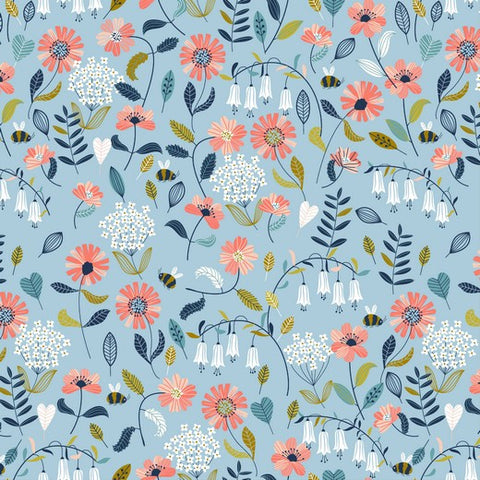 Blue Bees and Flowers Brushed Cotton Poplin - 0.5m