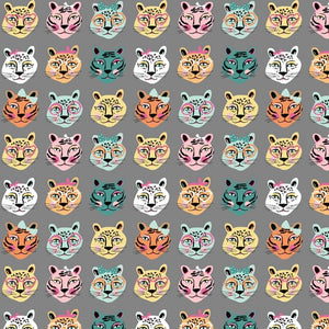 Cat Faces Cotton Jersey - Grey
