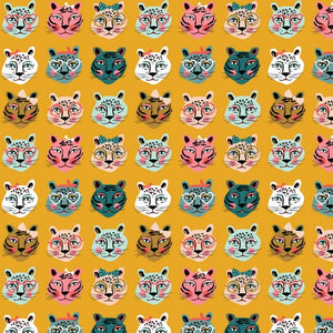 Cat Faces Cotton Jersey - Ochre