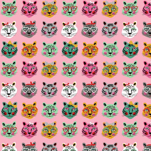 Cats Faces Cotton Jersey - Pink