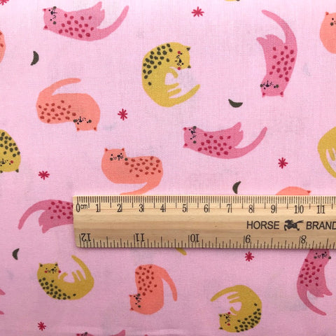 Sleepy Cats Cotton Poplin - Pink - 0.5m