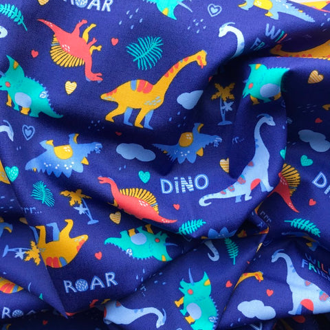 Dinosaurs on Royal Blue Cotton Poplin - 0.5m