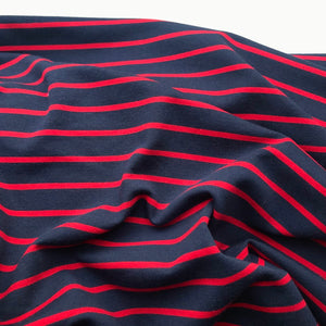 French Terry Striped Jersey Lightweight Sweatshirt Fabric - Navy With Red Stripe
