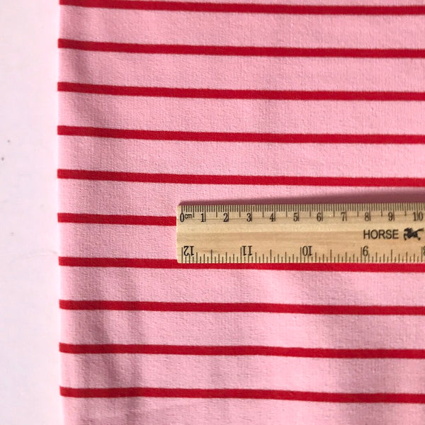 French Terry Striped Jersey Sweatshirt Fabric - Pink With Red Stripe
