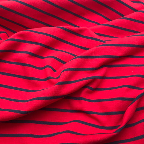 French Terry Striped Jersey Lightweight Sweatshirt Fabric - Red With Navy Stripe