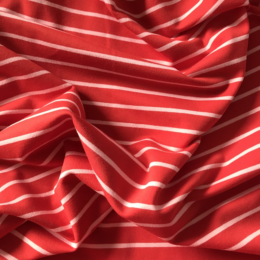 French Terry Striped Jersey Sweatshirt Fabric - Red With Pink Stripe