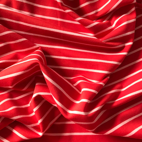 French Terry Striped Jersey Lightweight Sweatshirt Fabric - Red With Pink Stripe