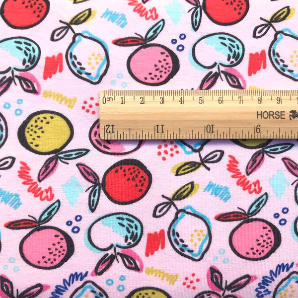 Organic Lemon and Lime Cotton Jersey - Pink - Per Half Metre