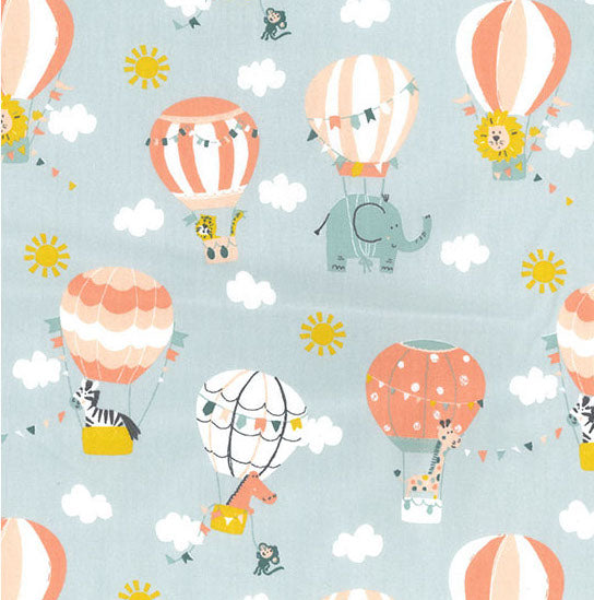 Animal Hot Air Balloons Woven Cotton - Mint - Per Half Metre