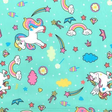 Magic Rainbow Ponies Poplin, Mint - Per Half Metre